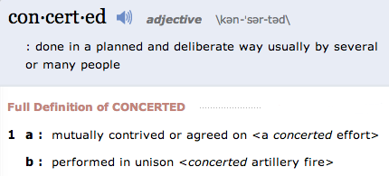 concerteddefinitionandmorefromthefreemerriamwebsterdictionary